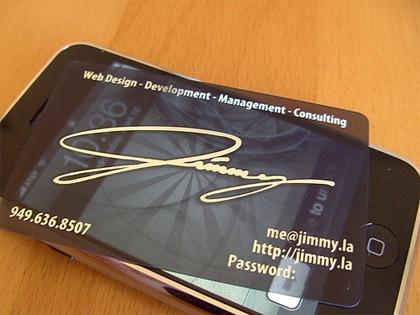 прозрачная визитная карточка