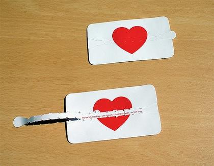 визитка с сердцем