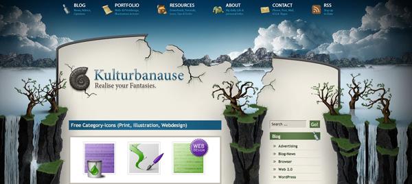 горы,водопады, деревья, облака в дизайне сайта