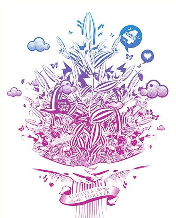 иллюстрация в фиолетово-синих тонах