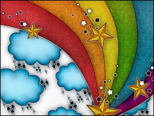 яркие звезды, облака, радуга