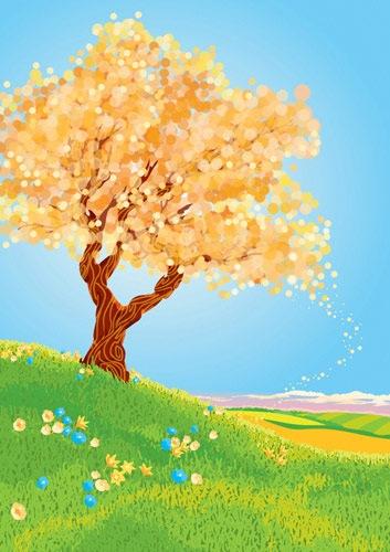 цветущее векторное дерево