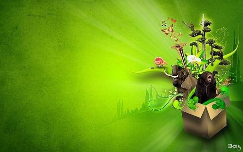 яркий зеленый волпейпер