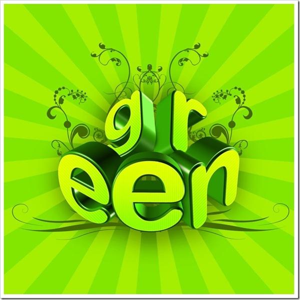 сочная зеленая 3d типографика