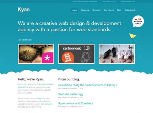 Голубой и белый в дизайне сайта