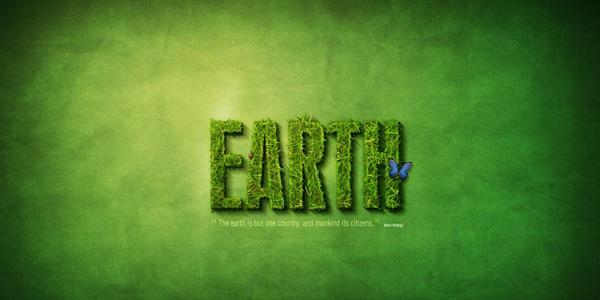 Создайте текстовый эффект зеленой травы в фотошопе