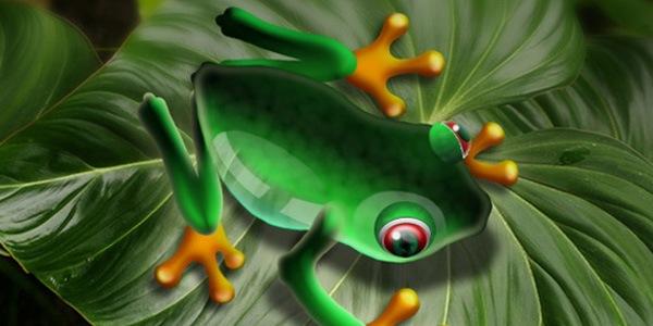 Сияющая и блестящая лягушка
