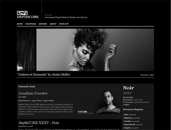 Темный дизайн сайта коллектива
