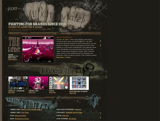 сайт в темном гранжевом исполнении