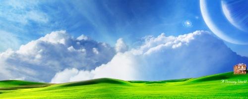 Зеленые склоны травы