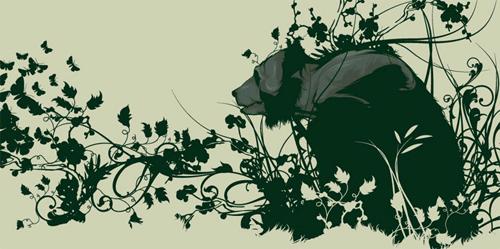 медведь в зелени
