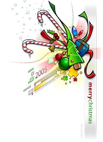 яркая новогодняя открытка