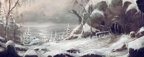 Древний дом зимой