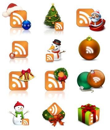 Реалистичные рождественские RSS иконки