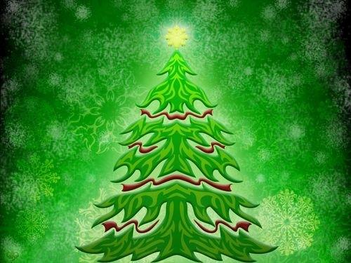 яркая зеленая елка на рабочий стол