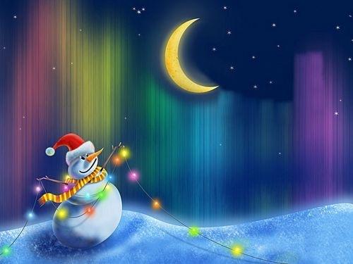 яркий новогодний снеговик на рабочий стол