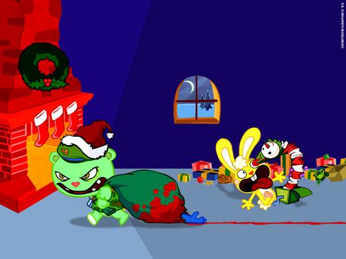 Обои с изображением популярного мультфильма  Happy Tree Friends