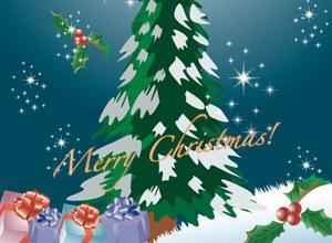 Новогодняя елка с подарками и звездами