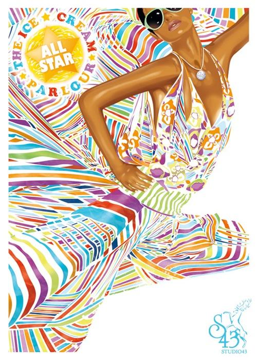 Постер All Star Parlour для вечеринки проводившейся в Швеции