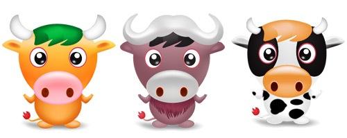3 симпатичных иконки бычка