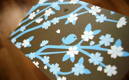 милая визитка с цветами
