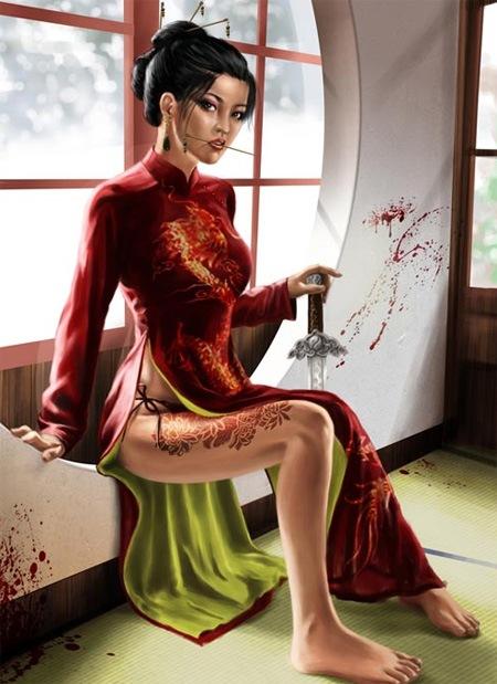 Туториал создания цифрового рисунка азиатской девушки
