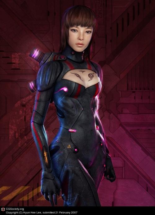 девушка космический воин созданная в 3д