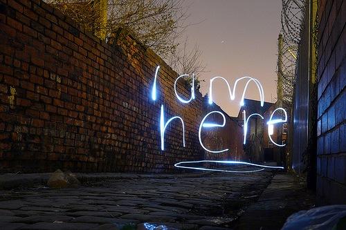 надпись посреди улицы