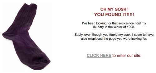 На странице ошибки сайта разместили носок