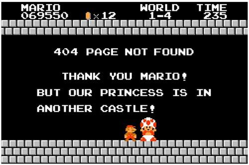 Марио на странице ошибки