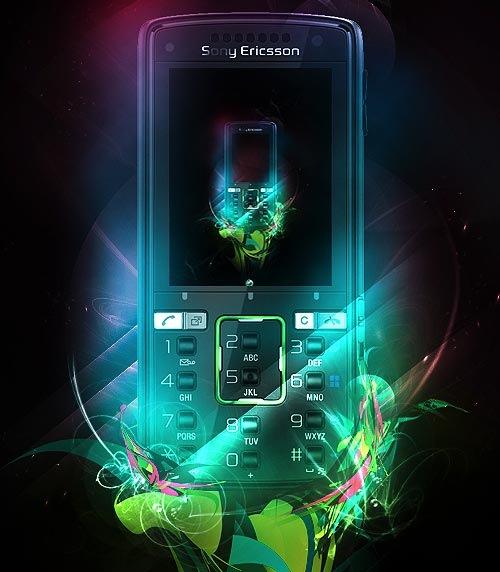 Яркая блестящая реклама Sony Ericsson k850i