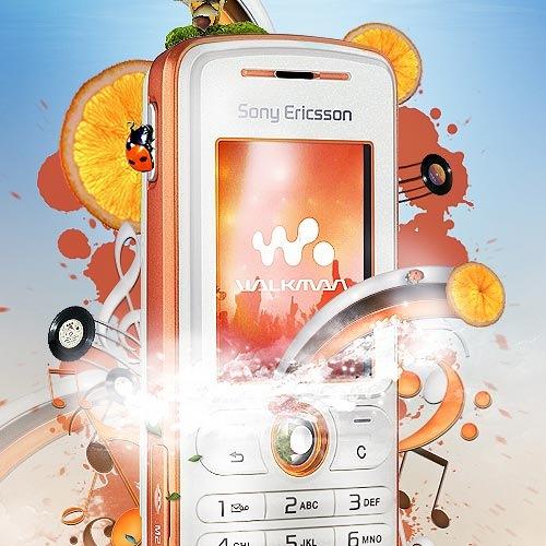 Взрыв красок в постере Sony Ericsson W200a