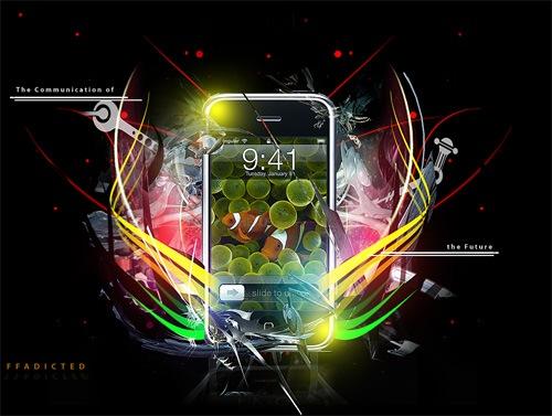 Яркий взрывной дизайн рекламного постера iPhone