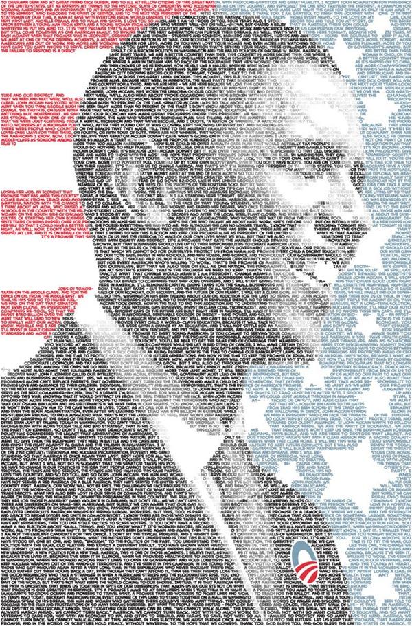 Типографическая мозаика Барака Обамы