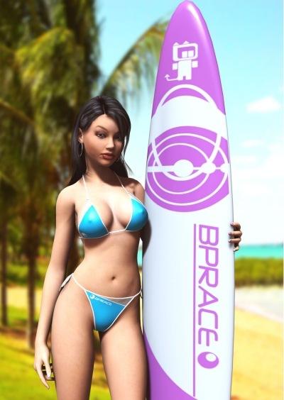3д девушка на пляже