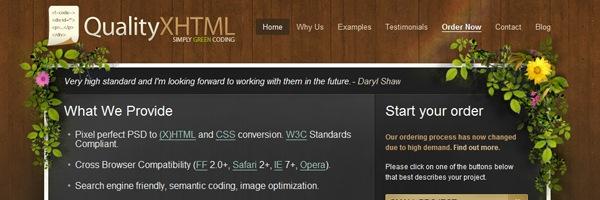 Сайт с деревянным фоном и цветами
