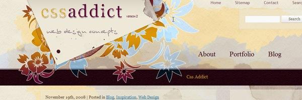 Сайт с иллюстрациями цветов на хедере