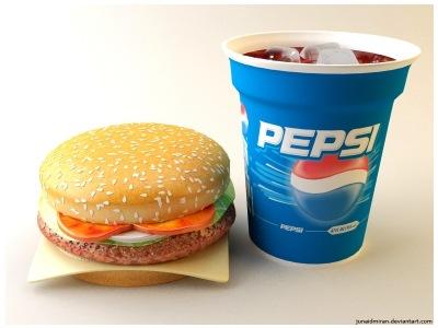3д  пепси и гамбургер
