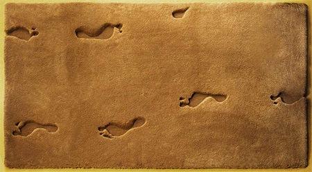 следы ног на коврике