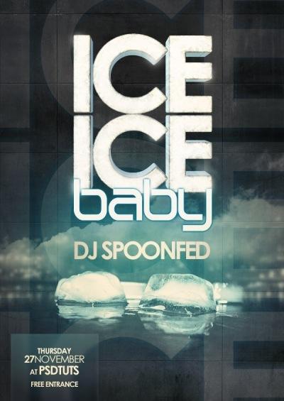 постер с 3D текстом из льда