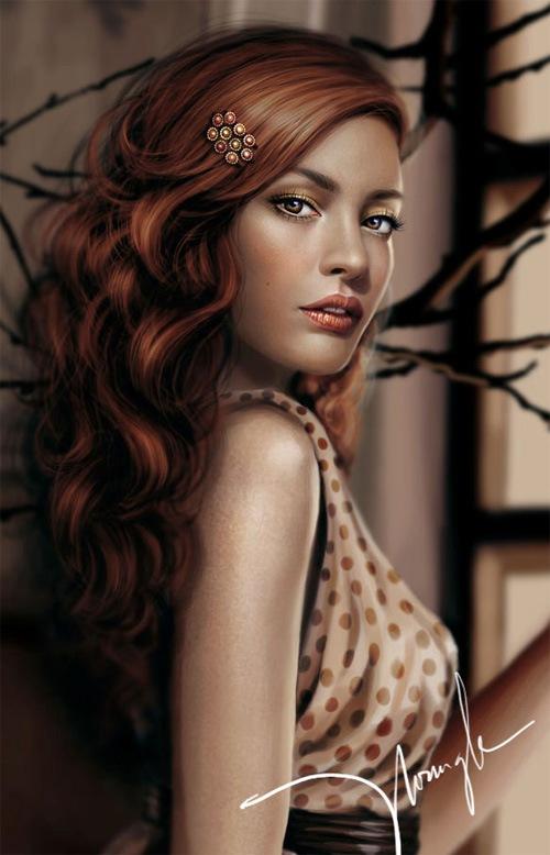 цифровой рисунок девушки
