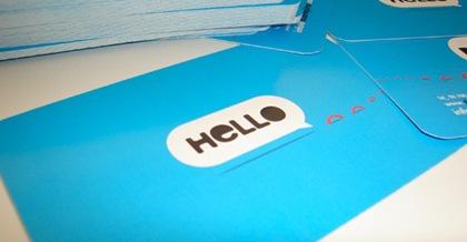 простая голубая визитка