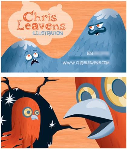 забавные иллюстрации на визитках