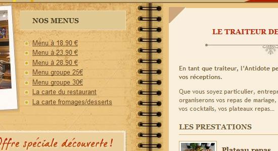 сайт с бумажным меню