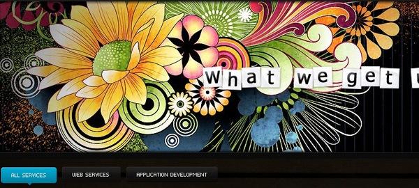 яркие цветы и брызги в дизайне сайта