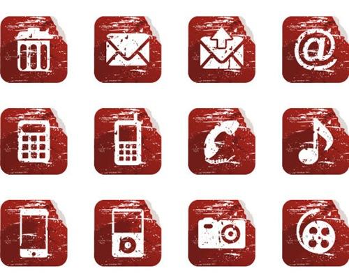 красные-иконки-в-стиле-гранж