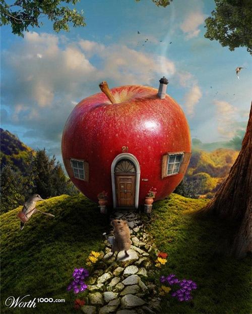 домик из яблока