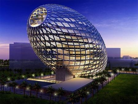 Здание в форме яйца