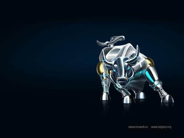 волпейпер с изображением стального быка
