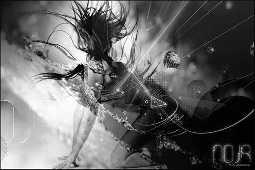 черно-белая фотоманипуляция